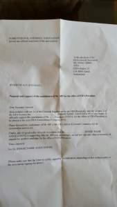 AFC form letter